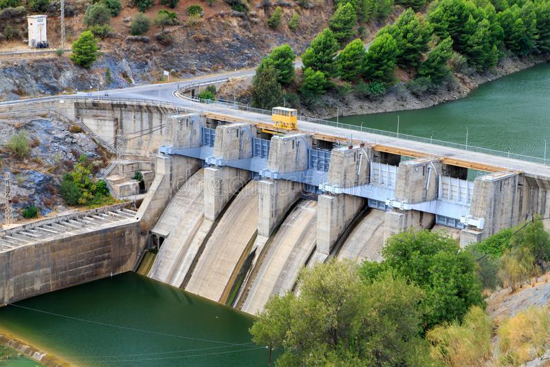 Small hydro-electric dam. Near El Chorro, Andalusia, Spain royalty free stock photography