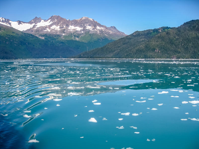 Sea of ice. Sea covered with floating ice seen from the cruise in Kenai Fjords National Park in summer, Alaska, USA stock images