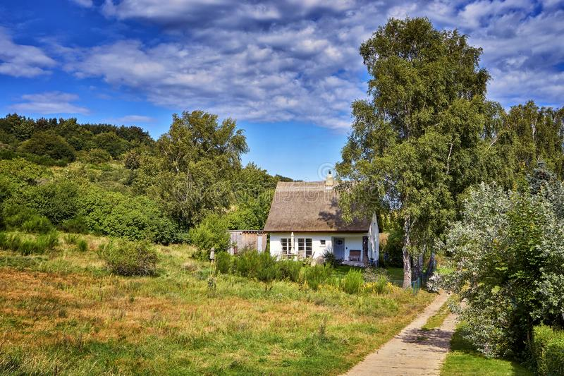 Small idyllic thatched cottage on the edge of the forest on the island of Hiddensee. Germany, Mecklenburg-Vorpommern. Trees, roof, house, grass, property royalty free stock image