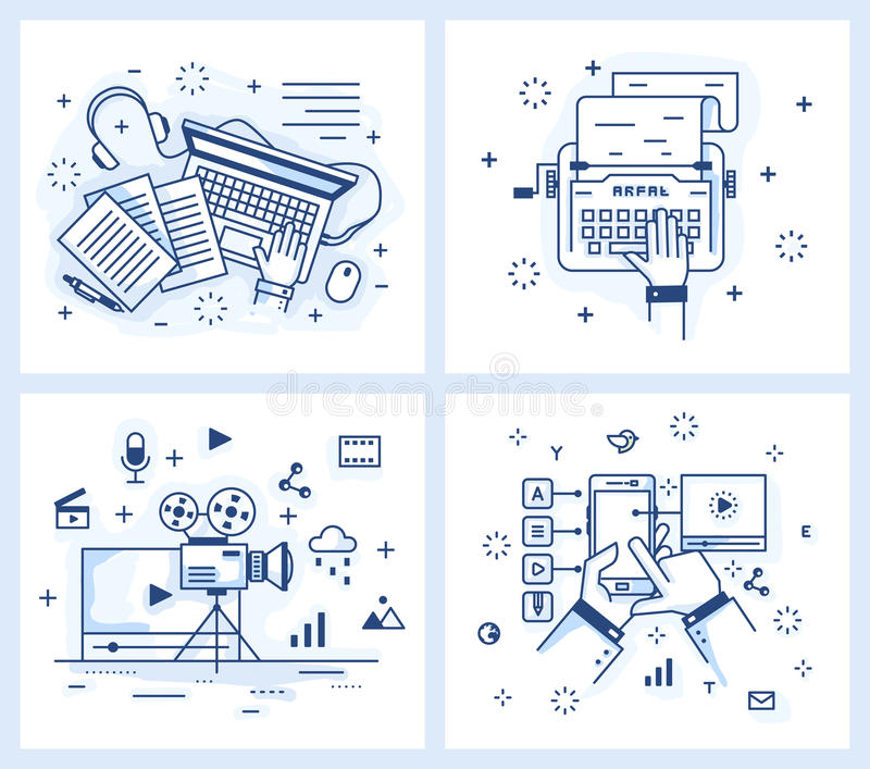 Small illustration of a modern linear style royalty free illustration