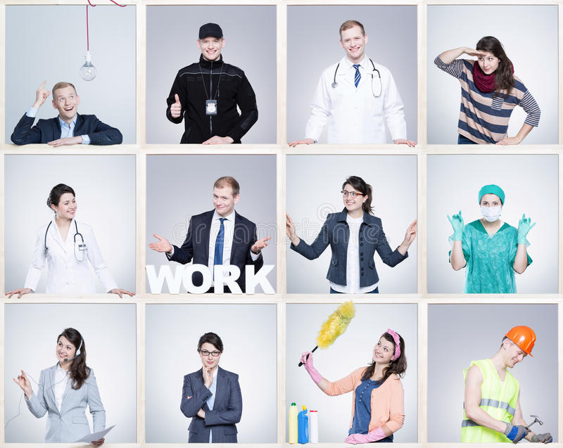 Small images of young man and woman in different occupation. Wearing specific work uniforms royalty free stock photos