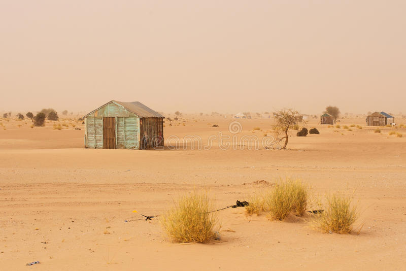 Small improvised house in Mauritania stock image