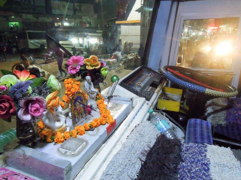 Small indu temple on a bus at Sagar on India. Sagar, India - 31 January 2015: small indu temple on a bus at Sagar on India stock photos