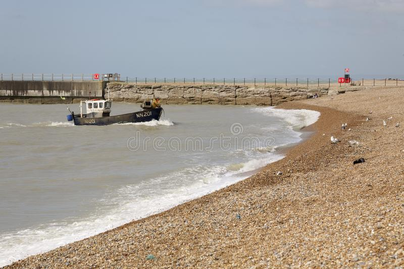 Trawler beaching in Hastings, East Sussex, England royalty free stock images