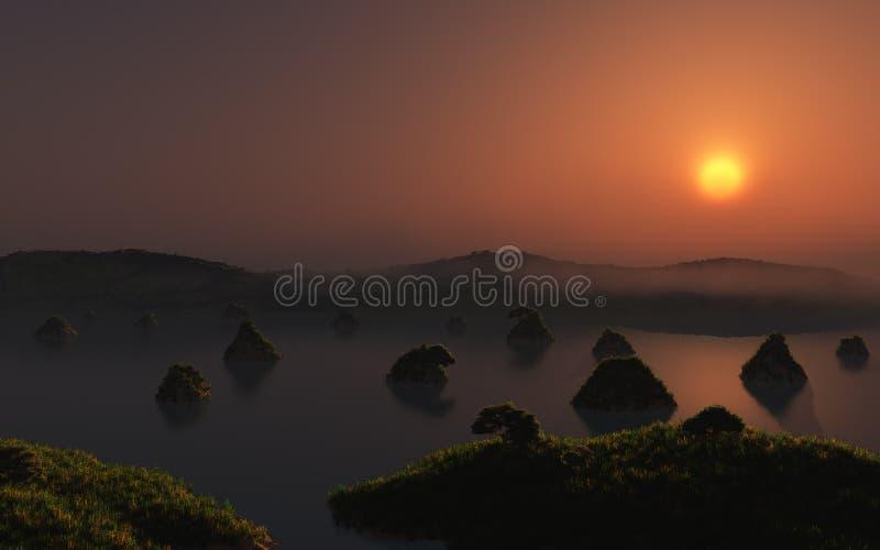 Small Island Lake Sunset stock images