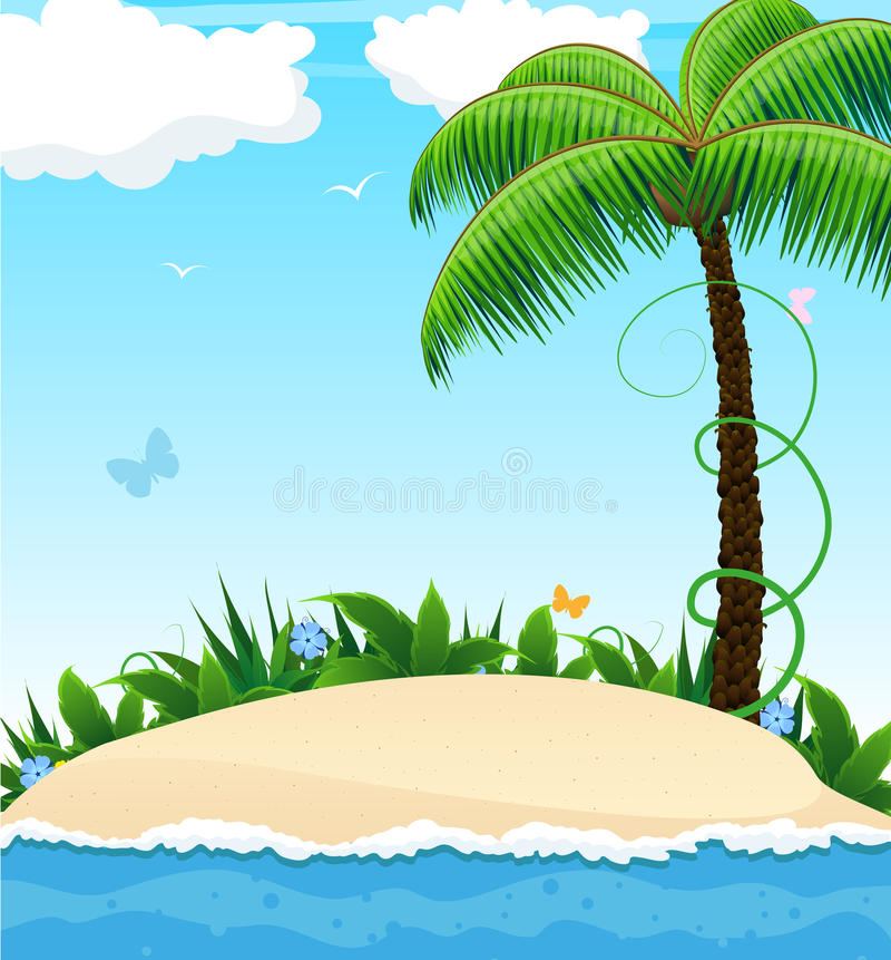 Small Island With A Palm Tree Stock Photo