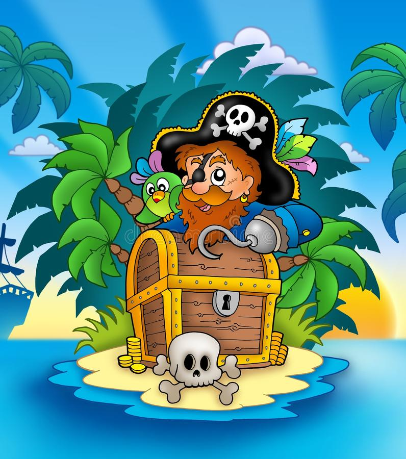 Download Small Island With Pirate And Chest Stock Illustration - Image: 14511351