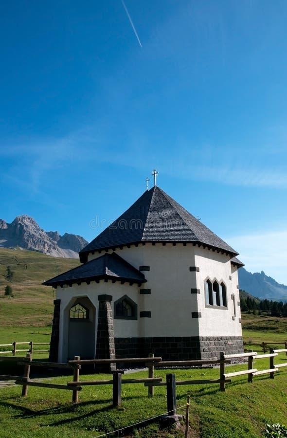 Small Italian church - Dolomites, Italy royalty free stock photos