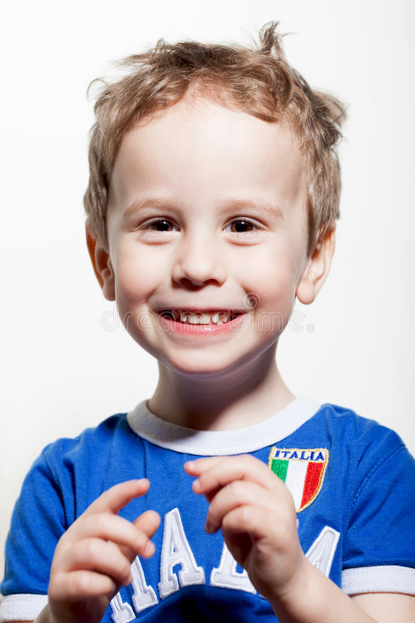 Small Italian fan. Young baby in Italian fan's shirt stock photo