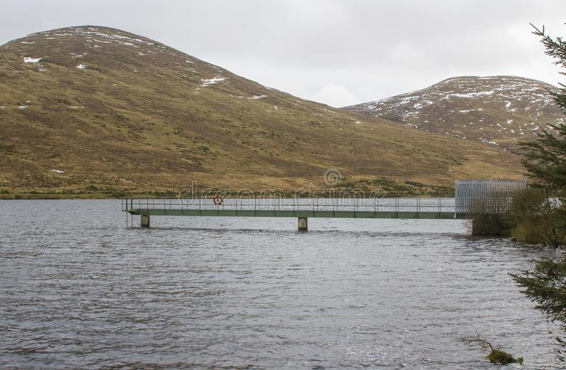 The small jetty and inspection platform at the Fofanny Water Treatment Works in the Western Mourne Mountians stock photo