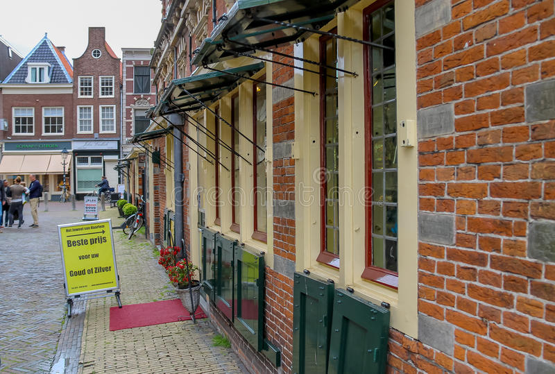 Small jewelry shops in the historical centre of Haarlem stock images