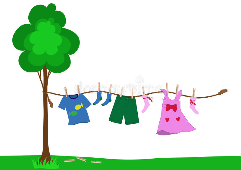 Small kid clothes drying on a rope. Small boy and girl clothes drying pinned with clothespins to the rope after laundry royalty free illustration