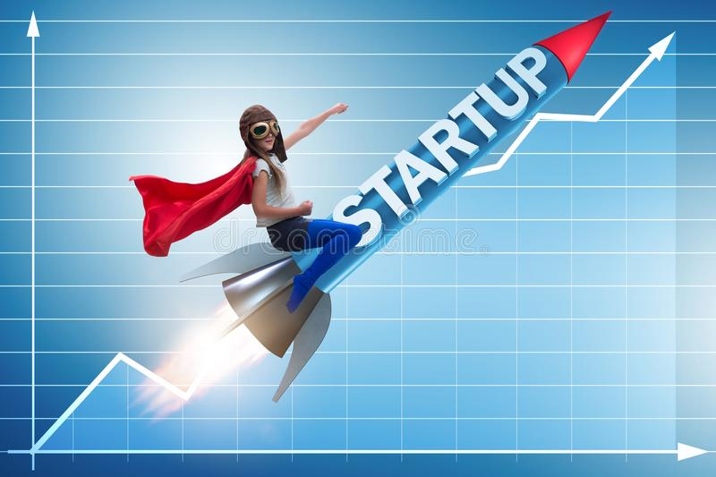 The small kid in start-up concept flying rocket royalty free illustration