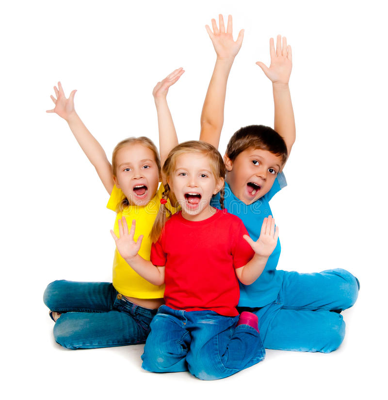 Small kids. Laughing small kids on a white background royalty free stock images