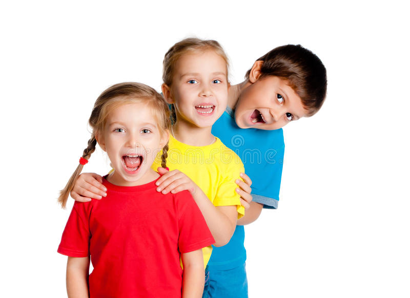 Small kids. Laughing small kids on a white background royalty free stock image