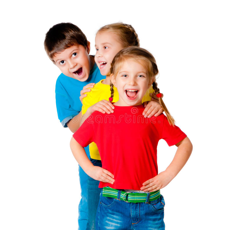 Small kids. Laughing small kids on a white background stock photography