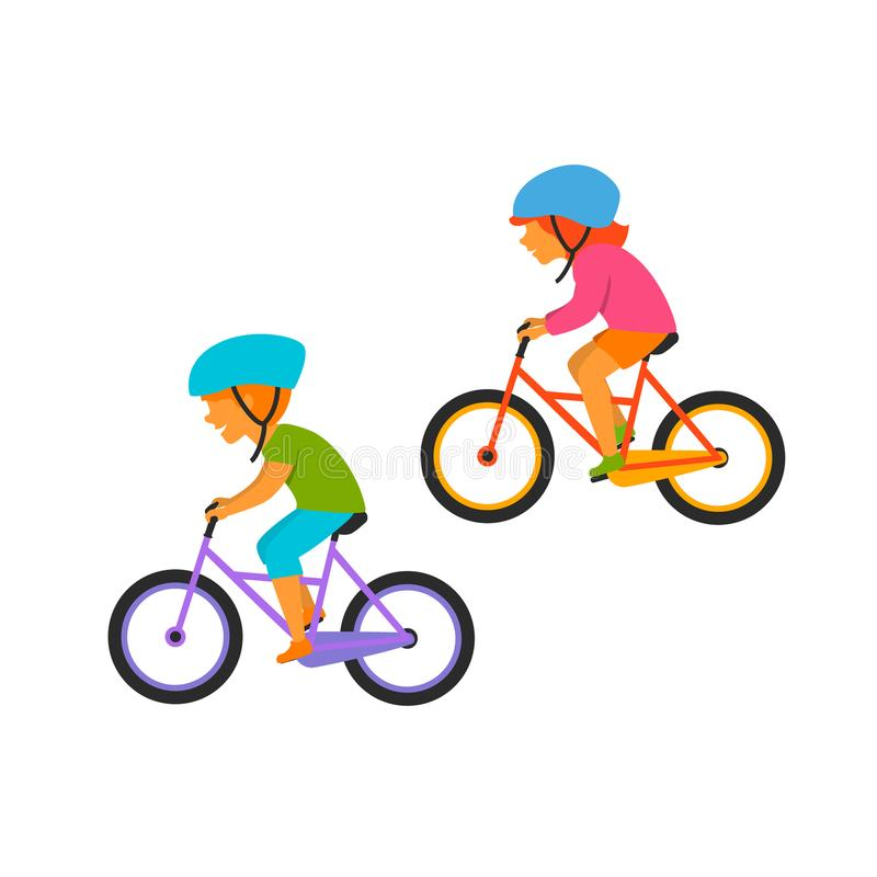 Small kids boy and girl riding bikes. Cute vector illustration royalty free illustration