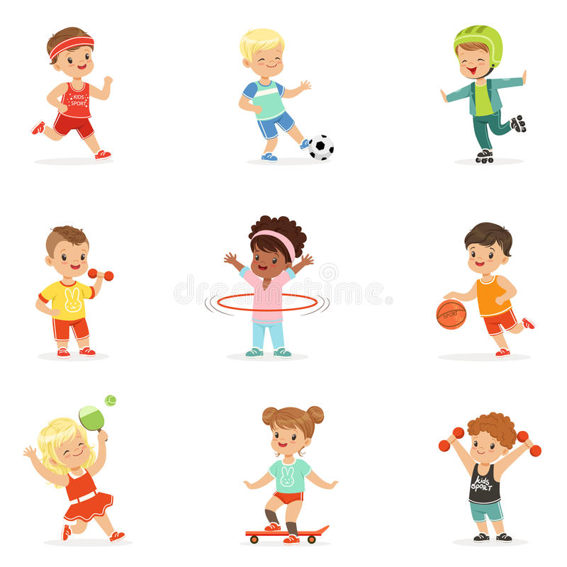 Small Kids Playing Sportive Games And Enjoying Different Sports Exercises Outdoors And In Gym Set Of Cartoon royalty free illustration