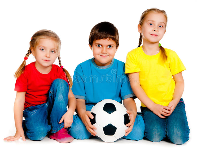 Small kids with soccer ball. Isolated on white stock photos