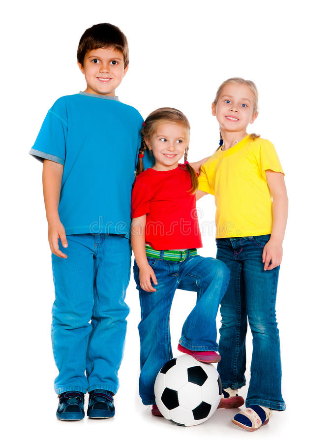 Small kids with soccer ball. Isolated on white royalty free stock image