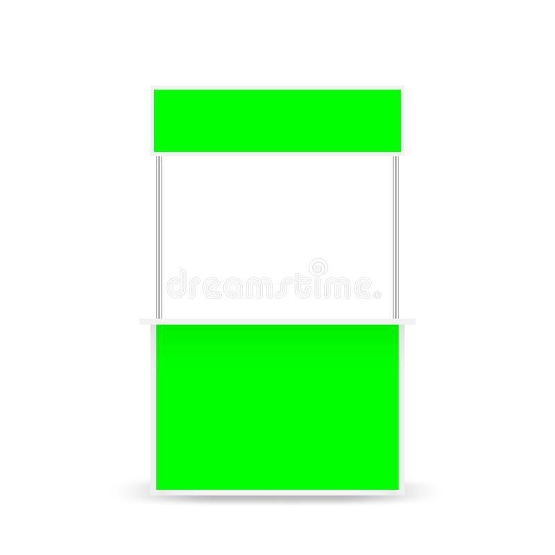 Small kiosk and top banner green screen display, template blank kiosk of counter display stock clip art green screen, kiosk desk. The small kiosk and top banner stock illustration