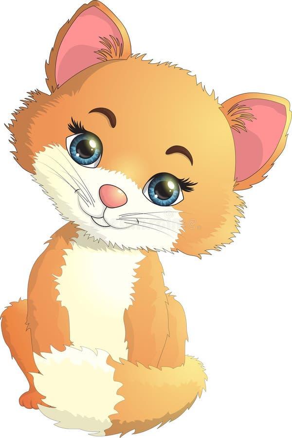 Small kitten is interesting. Vector illustration. stock photo