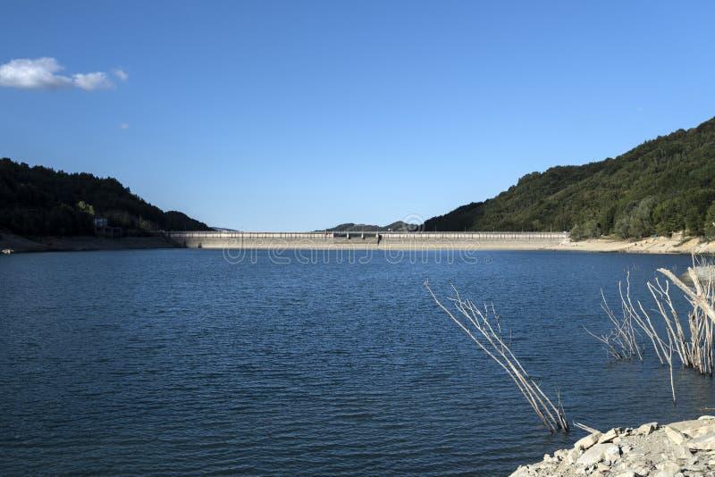 Small lake dam. Morning landscape royalty free stock photography