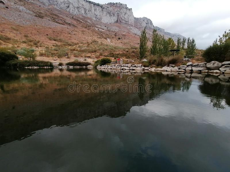 Small lake and mountains El Torcal Antequera province of Malaga, Andalusia, Spain. royalty free stock images