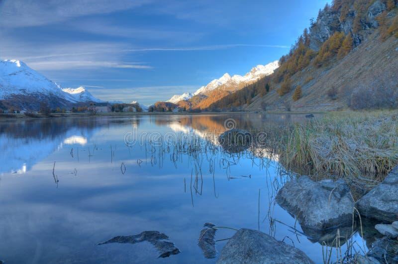 Small lake near Sils, Switzerland royalty free stock photos