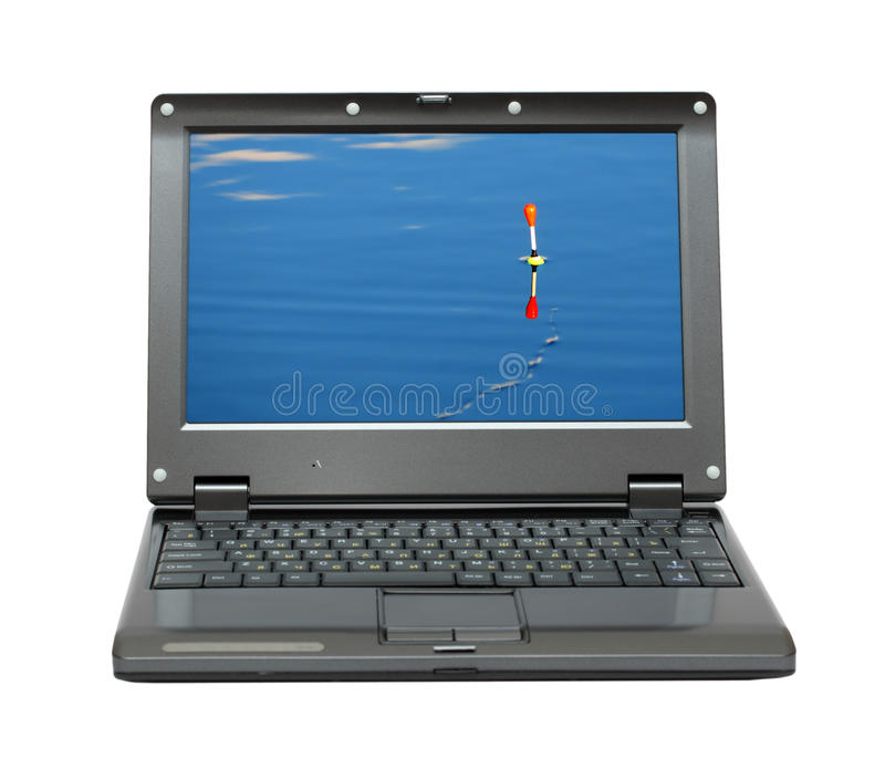 Small Laptop With Fishing Themes Stock Photos