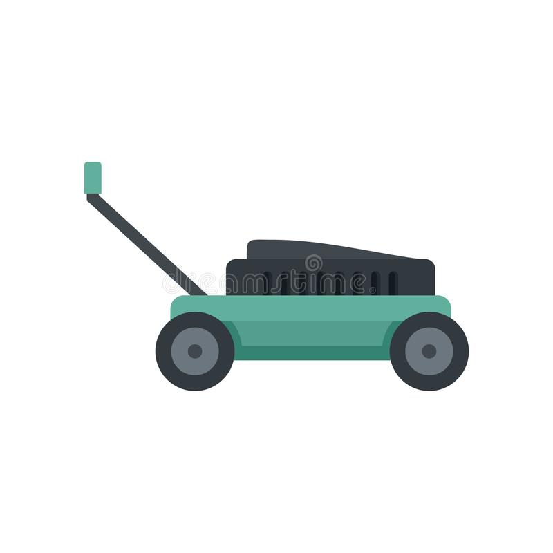 Small lawn mower icon, flat style. Small lawn mower icon. Flat illustration of small lawn mower icon for web isolated on white stock illustration