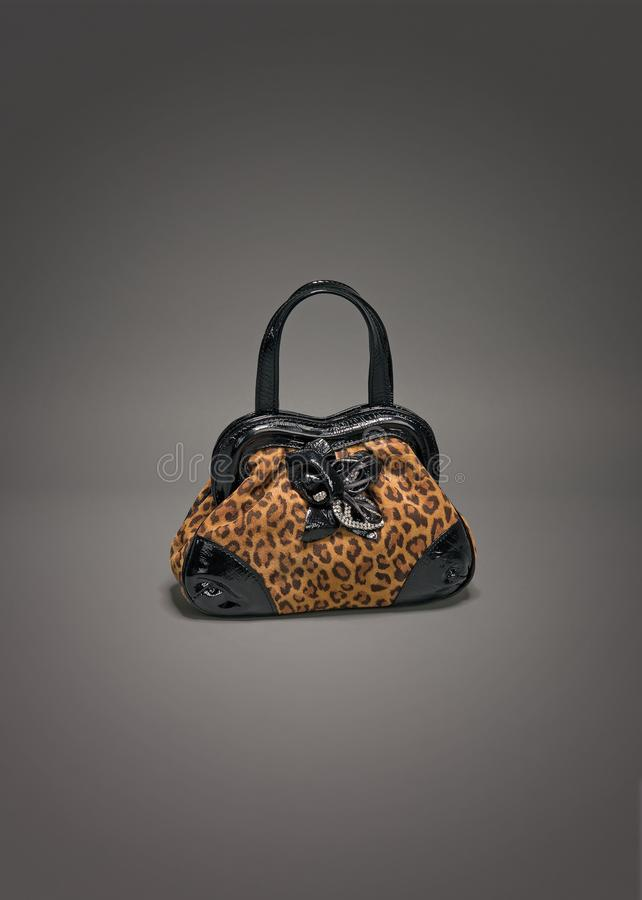 Small leather purse with leopard pattern on gradient gray background. Photographed in studio for sale royalty free stock images