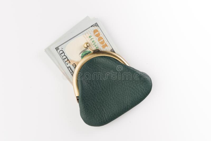 Small leather wallet with usd dollars isolated on white. Background royalty free stock photo