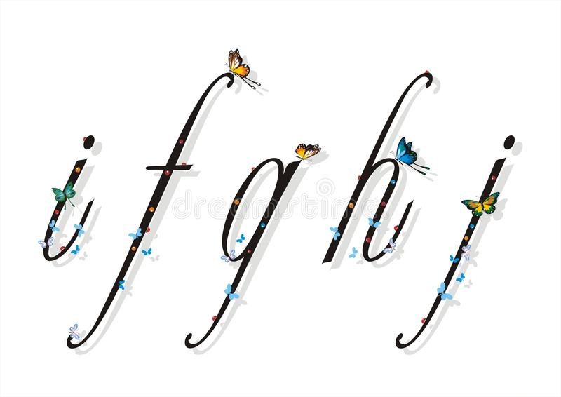 Small Letter with Butterflies and Flat Shadows 2
