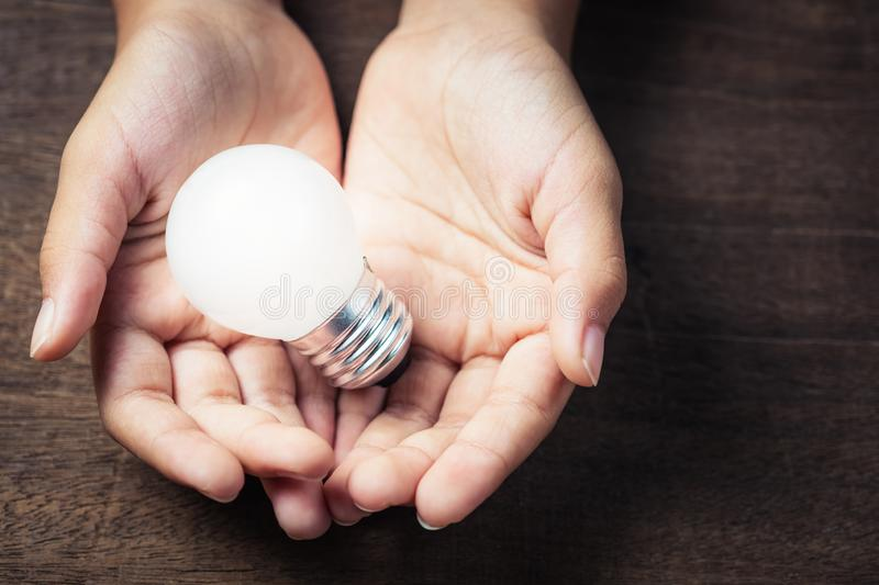 Small Light Bulb in Hands royalty free stock photography