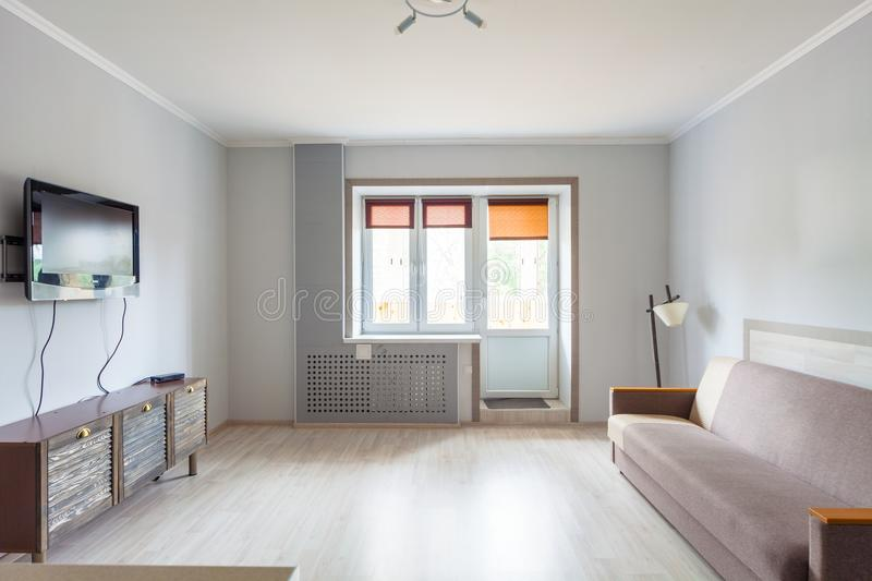 Small studio apartment and kitchen hightech interior royalty free stock photography