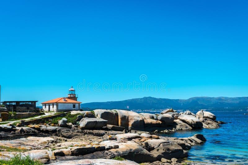 Small lighthouse in the Rias Baixas, Galicia stock photography