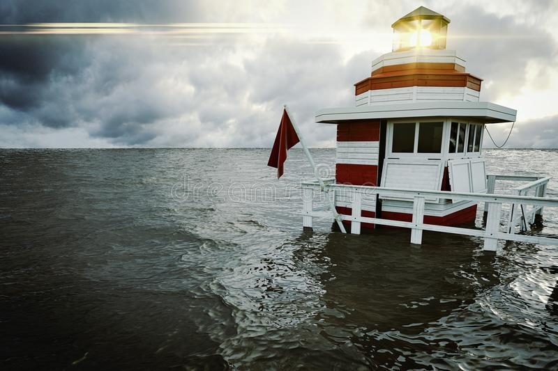 Small lighthouse with stormy sky. 3d rendering stock photo