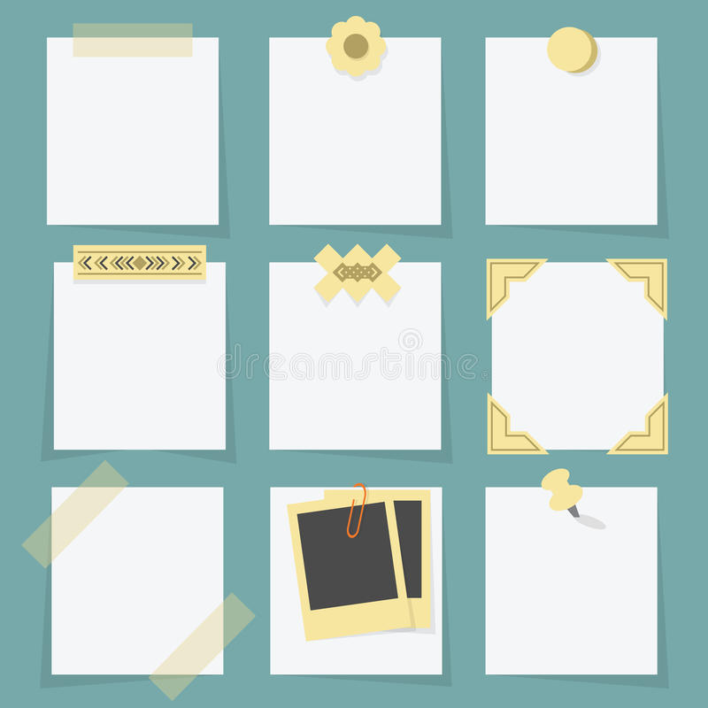 Small little attached blank paper notes on teal background. With tapes, stickers, pins, paper clip, and photo corners vector illustration