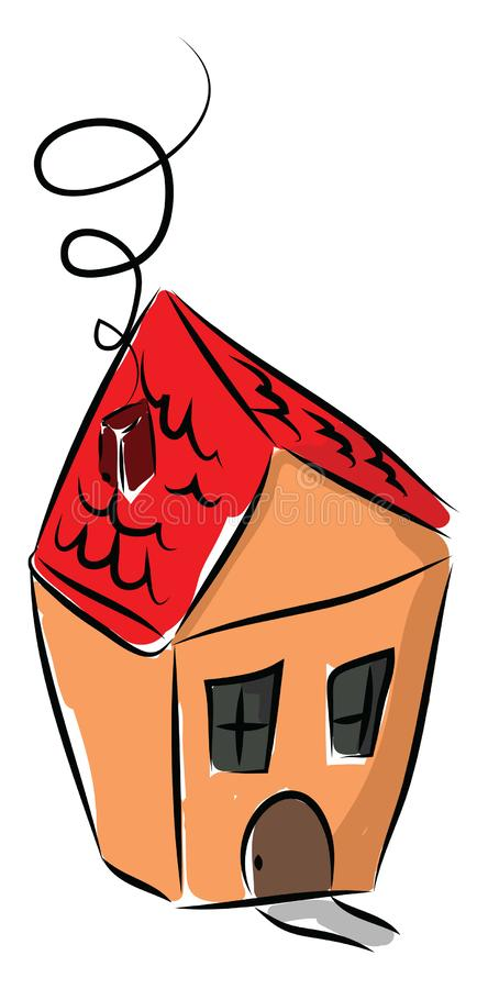 Red House Drawing: Miniature House With Red Roof Vector Stock Illustration