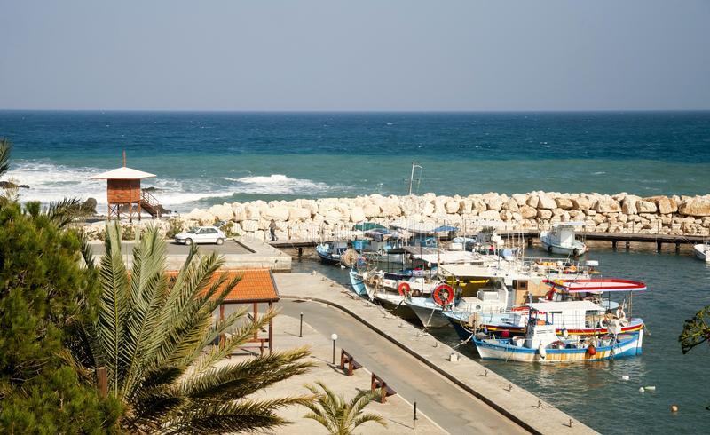 Small local harbor. With colorful fishing boats in Pomos,Cyprus stock photo