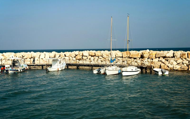 Small local harbor. With colorful fishing boats in Pomos,Cyprus royalty free stock image