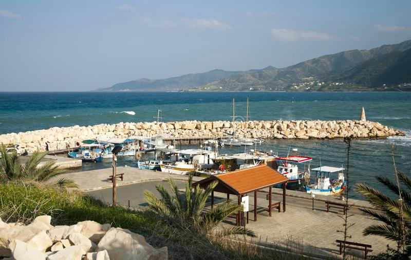 Small local harbor. With colorful fishing boats in Pomos,Cyprus stock photography