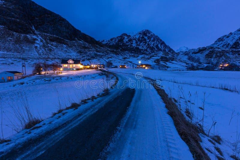 Small local road to Haukland beach at night in Lofoten island, Nordland Norway, Scandinavia. Europe stock photo