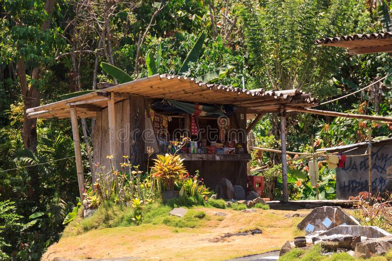 Small local shop in the Bena traditional village, near Bajawa, Flores, Indonesia stock photos