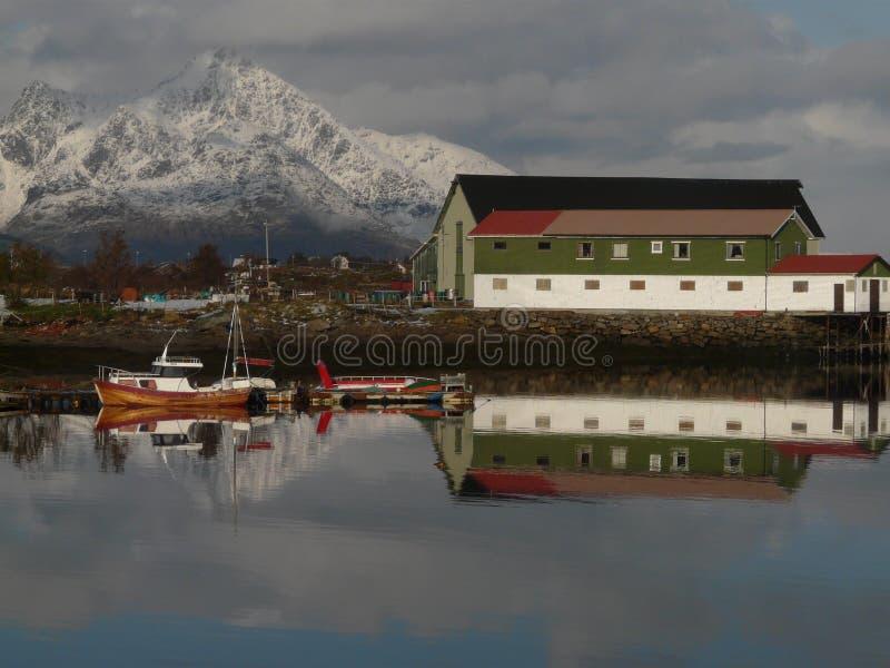 Small Lofoten's bay. The bay of Gravdal, Lofoten islands whith a small fish factory stock photography