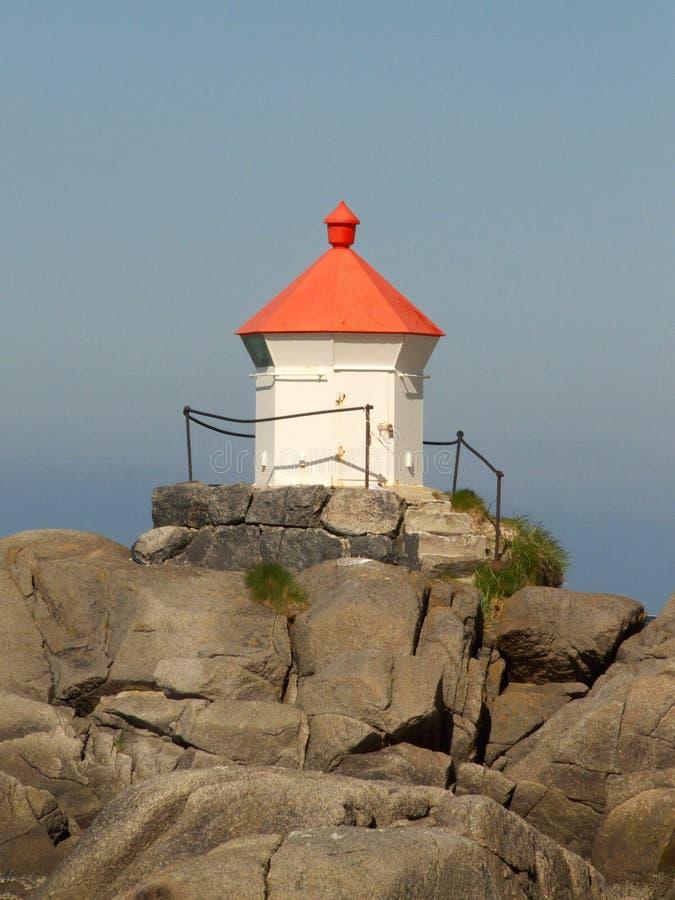 Small Lofoten's lighthouse. Small norwegian lighthouse in Eggum, Lofoten islands, polar circle stock photos