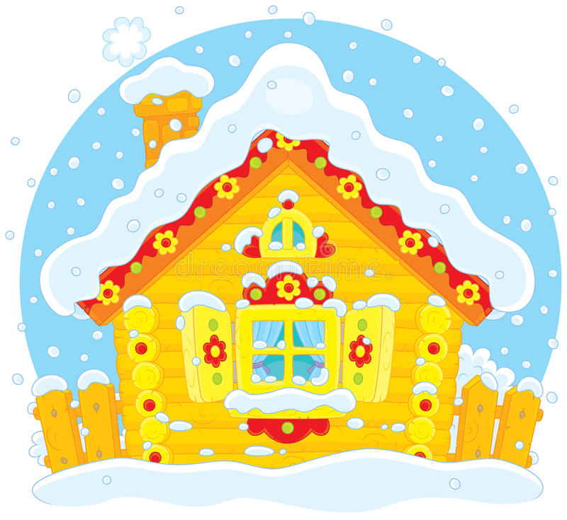 Download Small log hut in snow stock vector. Image of folktale - 40371187
