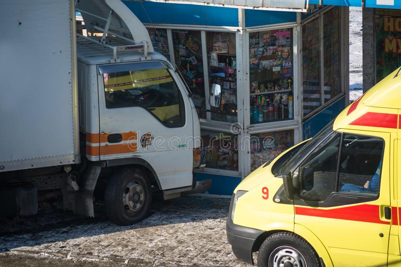 Small lorry crashed the kiosk. royalty free stock images