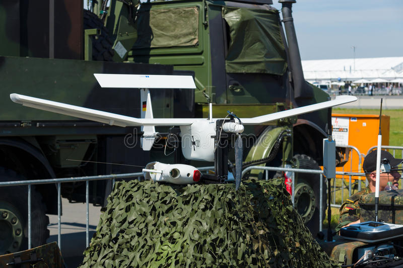 A small, man-portable light reconnaissance unmanned aerial vehicle EMT Aladin. BERLIN, GERMANY - MAY 21, 2014: A small, man-portable light reconnaissance stock photography